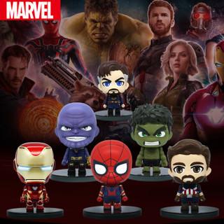 漫威MARVEL 复仇者联盟3汽车摆件 钢铁侠灭霸奇异博士绿巨人美国队长蜘蛛侠手办 组合套装(共六个)