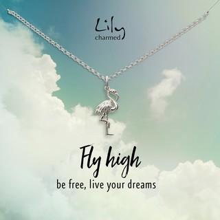 Lily Charmed 银色火烈鸟项链