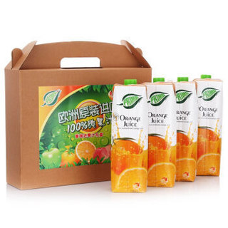 普瑞达(PRIMA)100%橙汁 1L*4瓶 整箱 塞浦路斯进口 果汁饮料 *5件