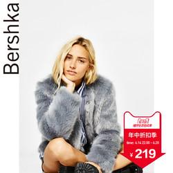 Bershka 女士 2018春季灰色毛绒人造皮草保暖短外套06444407802