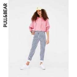 PULL&BEAR 05593399 粉色基本款宽松连帽运动卫衣