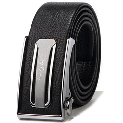 皮尔卡丹皮带男自动扣 牛皮商务休闲简约腰带合金扣头腰带 JFA80411615AA黑色