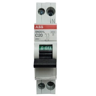 ABB进口断路器 1P+N  SN201L-C20 20A空气开关紧凑型微型空开 双进双出