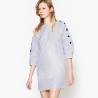 La Redoute Collections 女士条纹泡泡袖连衣裙