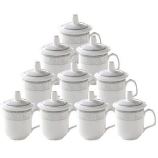 泥火匠 陶瓷 茶杯 中号盖杯10只装 1187花 300ml