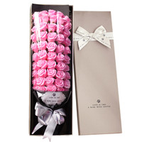 I'M HUA HUA51朵粉色玫瑰花香皂花礼盒保鲜花速递同城生日情人节纪念日礼物送女生送女友