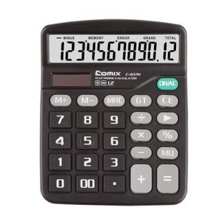 齐心(Comix) 12位中台办公经典计算器 黑色 新老包装随机发货 办公文具 C-837H *5件