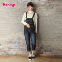 honeys2017新款牛仔背带裤高腰修身软妹全棉休闲长裤594-76-9566