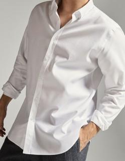 Massimo Dutti 00150113250 男士修身款肘饰纹理全棉衬衫