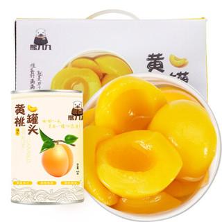 熊九九 糖水黄桃水果罐头 礼盒装 425g*6罐 *3件