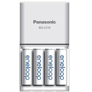 松下Panasonic爱乐普5号充电套装可充7号附4粒5号2000mha高性能镍氢急速智能充电电池 白色