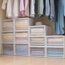 爱丽思IRIS可叠加塑料抽屉式收纳箱储物箱透明内衣收纳盒简易爱丽丝收纳柜百纳箱 透明/白BC-450D *3件