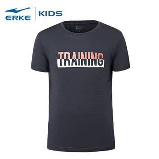 鸿星尔克(ERKE)童装 男童装中大童圆领短袖针织衫 63218219061 青瓦灰140 *3件