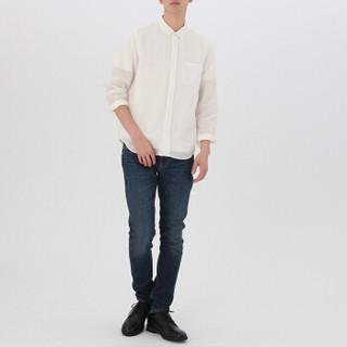MUJI 无印良品 M8SC761 男士亚麻水洗衬衫