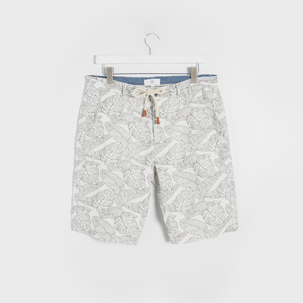 C&A 200203940 男士热带植物印花亚麻短裤