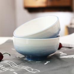 佳佰 天空蓝手绘陶瓷饭碗   釉下彩 2个装 *10件