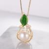 京润珍珠 秋叶 925银镶淡水珍珠吊坠项链