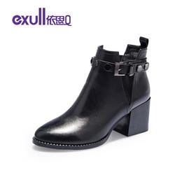 依思Q英伦牛纹擦色鞋面时尚短靴粗高跟靴子女 T7183639 黑色 36
