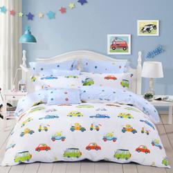 水星家纺 床上用品四件套纯棉 全棉斜纹印花被套床单 汽车俱乐部 双人1.5米床