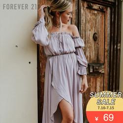 纯色缎面一字肩长袖连衣裙 Forever21连衣裙