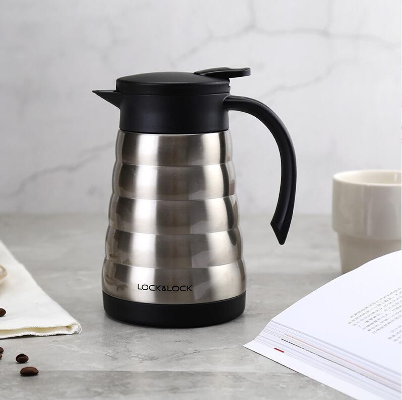 乐扣乐扣(lock&lock)美塔真空保温壶咖啡壶不锈钢保温保冷杯600ml水壶 银色LHC1441SLV *3件