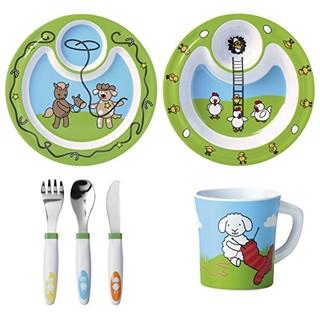 emsa 农场家族 儿童餐具6件套 浅盘、深盘、餐具三件套和杯子