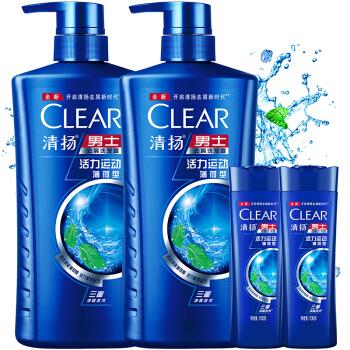 CLEAR 清扬 男士去屑洗发露 活力运动型 720g*2瓶+送同款100g*2瓶+袋装洗发水200g*2包