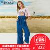 WHO.A.U牛仔裤女2018新款夏季潮流蝴蝶结牛仔背带裤WHTJ824F51 292元