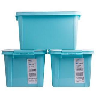 依帝欧  EDO 塑料整理收纳箱  小号10L 3个装 TH-1050 蓝色 *3件