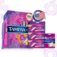 TAMPAX 丹碧丝 Radiant Plastic 幻彩系列 导管式 隐形卫生棉条 优惠装(普通流量16支装+3*3支装 送液体卫生巾3片装)
