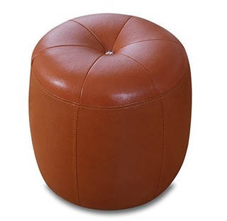 NMDS 诺曼迪诗 现代客厅高级沙发圆凳 棕色 35*35*36cm