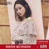 SNIDEL  2018春夏新品 一字领印花雪纺衫 SWFB181218 689元