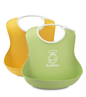 BABYBJORN Soft Bib系列 防碎屑儿童围嘴 2只装 黄色+绿色