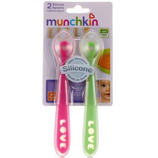 munchkin 满趣健 婴幼儿硅胶软勺 粉绿 2只装