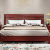 华日家居 现代中式卧室实木家具水曲柳双人床