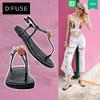 D:Fuse/迪芙斯2018新款夹脚凉鞋女dfuse夏夹趾平底鞋DF82115378 449元