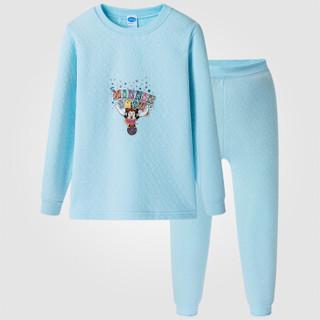 Disney 迪士尼 女童长袖内衣套装 天蓝色 130