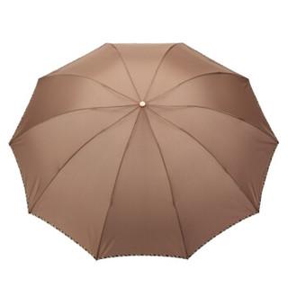 Paradise 天堂伞 拒水一甩干三折晴雨伞 驼色