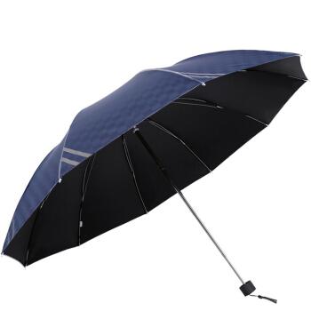 京东PLUS会员 : 天堂伞 英伦风格黑胶加大61cm*10骨三折晴雨伞32248E藏青色