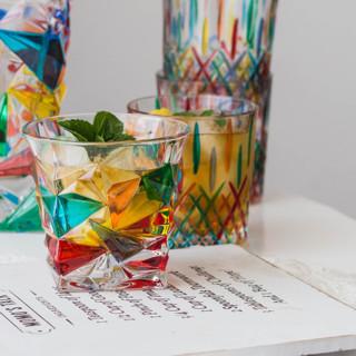 ZECCHIN 穆拉诺彩绘玻璃洋酒杯350ml 彩色