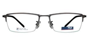 FILA 斐乐 纯钛 男士半框眼镜架 枪色