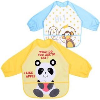 Elepbaby 象宝宝 宝宝吃饭罩衣 黄色熊猫+浅蓝小猴 2件装