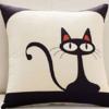 Brata 布拉塔 卡通亚麻风格抱枕沙发靠垫 黑猫 45*45cm