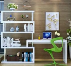 京好 旋转电脑桌转角台式家用办公桌 现代简约环保写字台带书架书柜A129(白色 全双管1.2桌子 80书架四层)