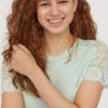 H&M DIVIDED 0632665 女士蕾丝短袖T恤