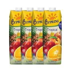 Cyprina 塞浦丽娜 热带100%纯果汁 1L*4瓶 *2件