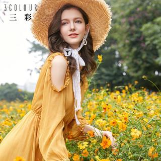 3COLOUR 三彩 D813022L00 女士荷叶边连衣裙