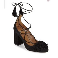 AQUAZZURA Fringe Ankle-Strap Leather Pump 女士高跟绑带凉鞋
