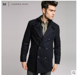ANDREW MARC MM7AW315NY 男士羊毛呢海军大衣