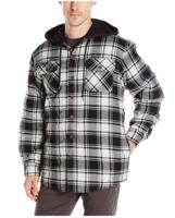 Wrangler Authentics 男士夹棉法兰绒连帽夹克 黑白格 XL
